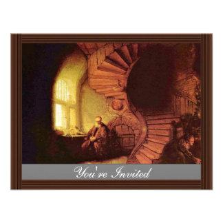 Philosopher In Meditation By Rembrandt Van Rijn Invite