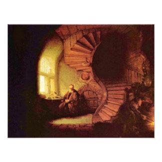 Philosopher In Meditation By Rembrandt Van Rijn Personalized Announcement