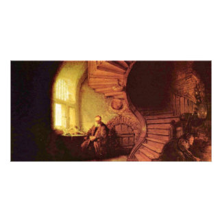 Philosopher In Meditation By Rembrandt Van Rijn Customized Photo Card