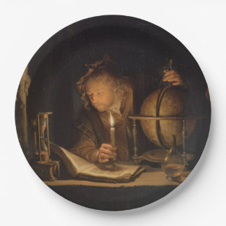 Philosopher Studying by Candlelight Paper Plate