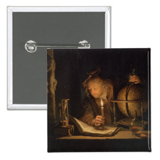 Philosopher Studying by Candlelight Pinback Button