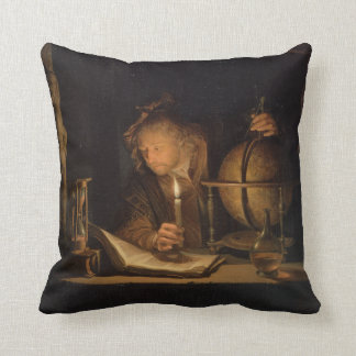 Philosopher Studying by Candlelight Throw Pillow