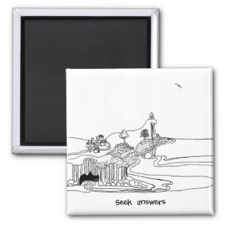 Philosopher - the wise seek answers 2 inch square magnet