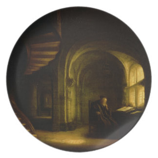 Philosopher with an Open Book, 1625-7 (oil on pane Dinner Plate