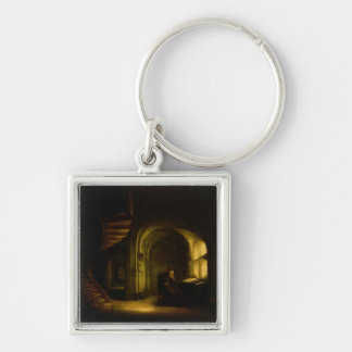 Philosopher with an Open Book, 1625-7 (oil on pane Keychain