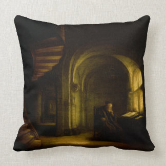 Philosopher with an Open Book, 1625-7 (oil on pane Throw Pillow