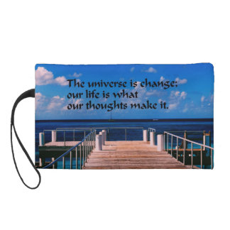 Philosophical quote wristlet purse