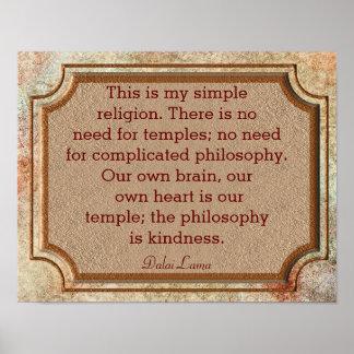 Philosophy Of Kindness - Dalai Lama Quote - Print