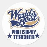 Philosophy Teacher Gift (Worlds Best) Round Stickers