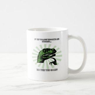 Philosoraptor losing and winning coffee mug