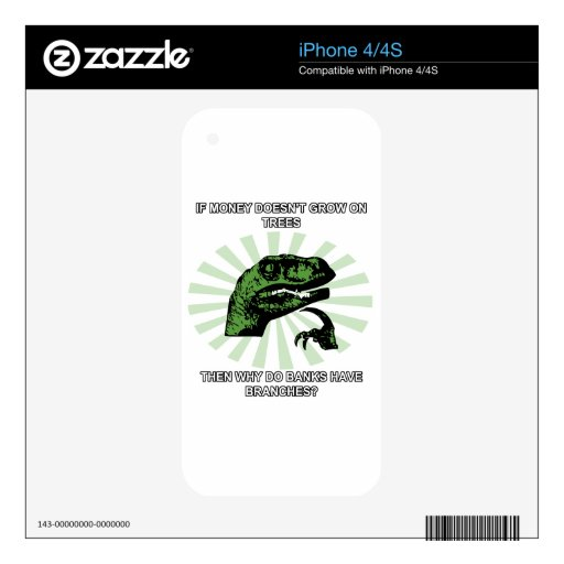 Philosoraptor Money and Banks iPhone 4 Decal