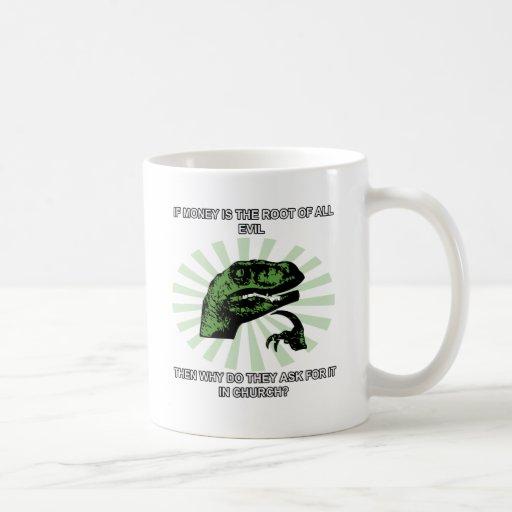 Philosoraptor Money and Church Coffee Mugs