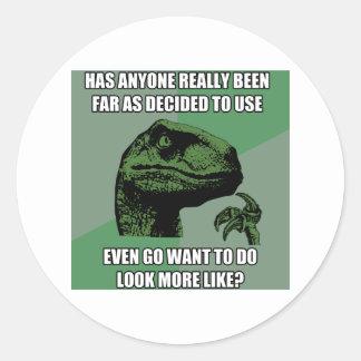 Philosoraptor Nonsense Classic Round Sticker