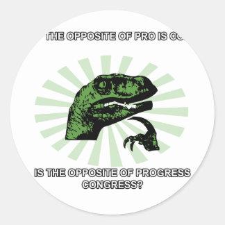 Philosoraptor Progress and Congress Classic Round Sticker