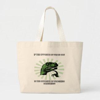Philosoraptor Progress and Congress Large Tote Bag