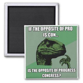 Philosoraptor Progress Vs Congress 2 Inch Square Magnet