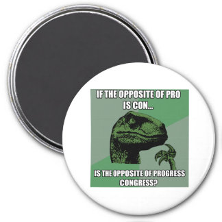 Philosoraptor Progress Vs Congress 3 Inch Round Magnet