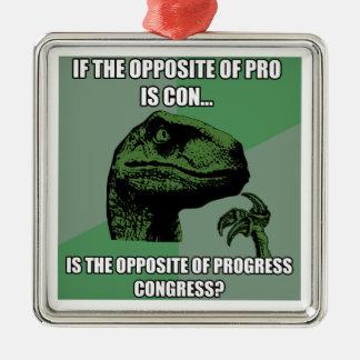 Philosoraptor Progress Vs Congress Metal Ornament
