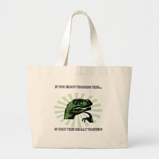 Philosoraptor que pierde tiempo bolsas lienzo