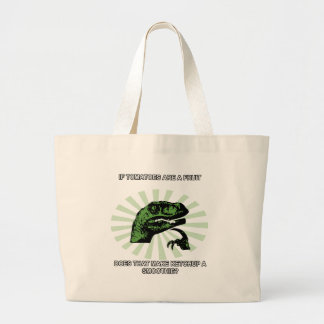 Philosoraptor Tomatoes and Ketchup Large Tote Bag