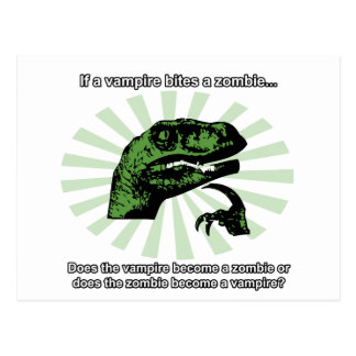 Philosoraptor Vampires and Zombies Post Card