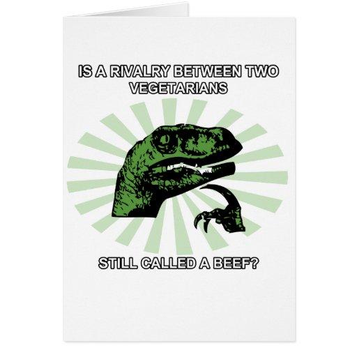 Philosoraptor Vegetarians Greeting Cards