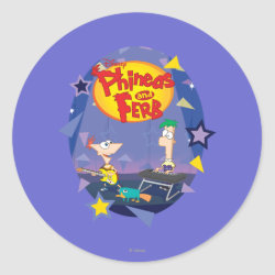 Round Sticker with Phineas and Ferb Playing Music design