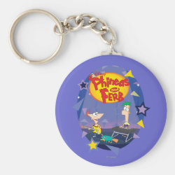 Basic Button Keychain with Phineas and Ferb Playing Music design