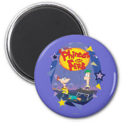 Round Magnet with Phineas and Ferb Playing Music design