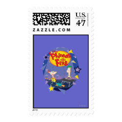 Medium Stamp 2.1' x 1.3' with Phineas and Ferb Playing Music design