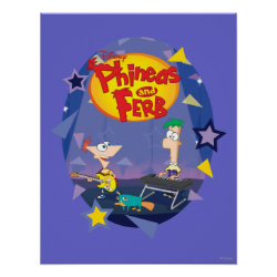 Matte Poster with Phineas and Ferb Playing Music design