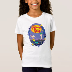Girls' Fine Jersey T-Shirt with Phineas and Ferb Playing Music design