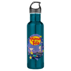 Water Bottle (24 oz) with Phineas and Ferb Playing Music design