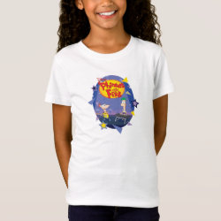 Phineas and Ferb Playing Music Girls' Fine Jersey T-Shirt