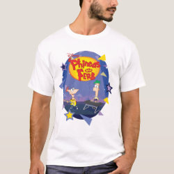 Men's Basic T-Shirt with Phineas and Ferb Playing Music design
