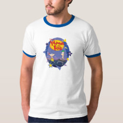 Men's Basic Ringer T-Shirt with Phineas and Ferb Playing Music design