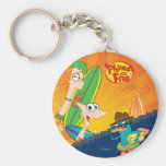 Phineas, Ferb and Agent P Surf Basic Round Button Keychain