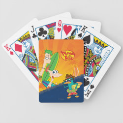 Phineas, Ferb and Agent P Surfing Playing Cards