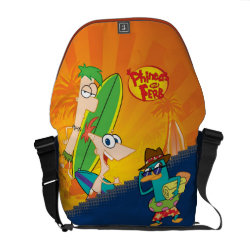 Rickshaw Medium Zero Messenger Bag with Phineas, Ferb and Agent P Surfing design