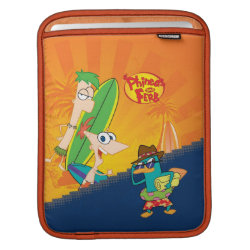 iPad Sleeve with Phineas, Ferb and Agent P Surfing design