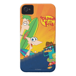 Phineas, Ferb and Agent P Surfing Case-Mate iPhone 4 Barely There Universal Case
