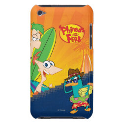 Phineas, Ferb and Agent P Surfing Case-Mate iPod Touch Barely There Case