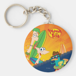 Basic Button Keychain with Phineas, Ferb and Agent P Surfing design