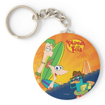 Disney Themed Phineas, Ferb and Agent P Surf Keychain