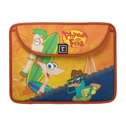 Macbook Pro 13' Flap Sleeve with Phineas, Ferb and Agent P Surfing design