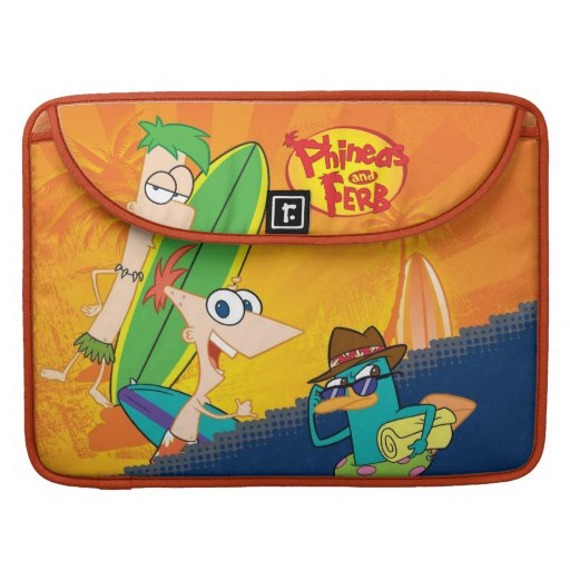 Phineas, Ferb and Agent P Surf MacBook Pro Sleeves