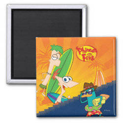 Square Magnet with Phineas, Ferb and Agent P Surfing design