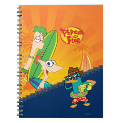 Photo Notebook (6.5' x 8.75', 80 Pages B&W) with Phineas, Ferb and Agent P Surfing design