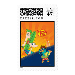 Medium Stamp 2.1' x 1.3' with Phineas, Ferb and Agent P Surfing design