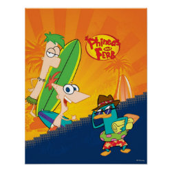 Matte Poster with Phineas, Ferb and Agent P Surfing design